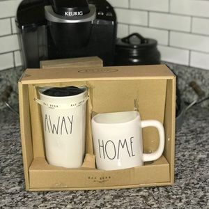 "RAE DUNN ""HOME"" 🏡 ✈️ ""AWAY"" Travel & Coffee Set"